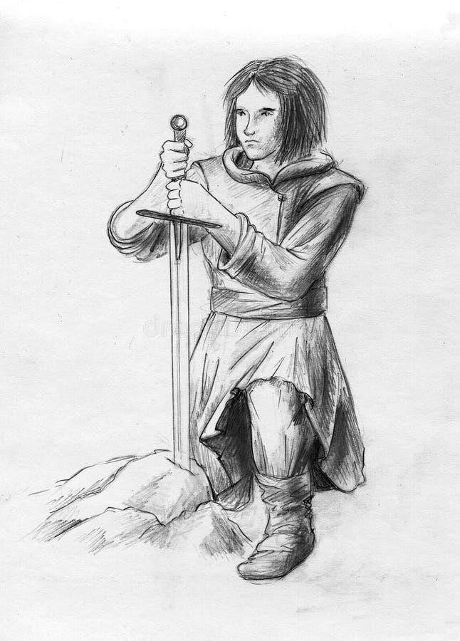 Giovane Arthur illustrazione di stock
