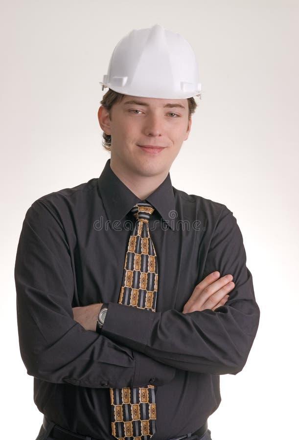 Giovane assistente tecnico di costruzione fotografia stock