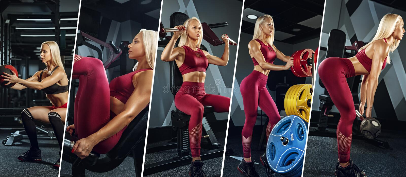 Giovane atleta femminile muscolare, collage creativo immagine stock