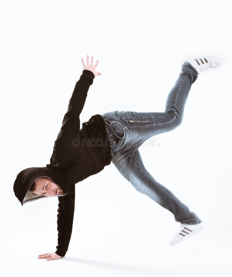 Giovane ballerino fresco della rottura isolato su fondo bianco fotografia stock