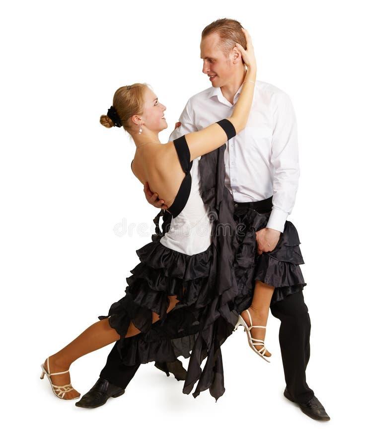 Giovane ballo di sala da ballo di dancing delle coppie fotografia stock libera da diritti