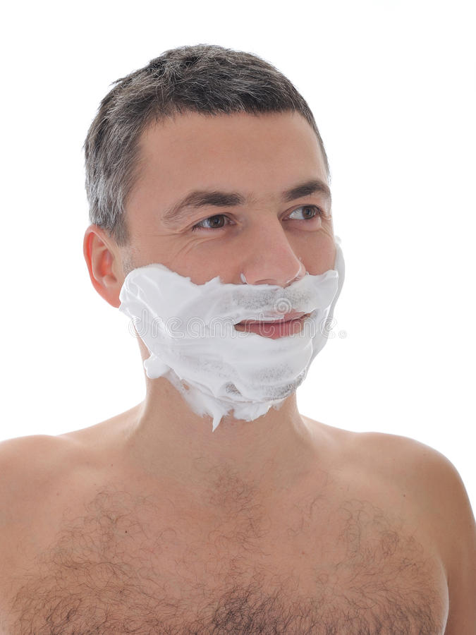 Giovane barba di rasatura maschio bella del fronte. isolato fotografie stock libere da diritti