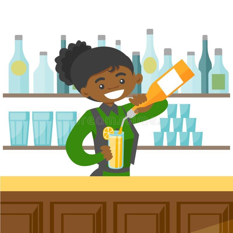 Giovane barista afroamericano che fa un cocktail illustrazione vettoriale
