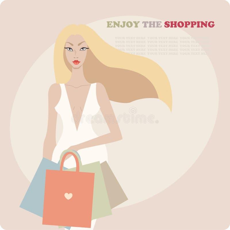 Giovane bella donna alla moda che porta vestito di lusso e che tiene i sacchetti della spesa illustrazione di stock