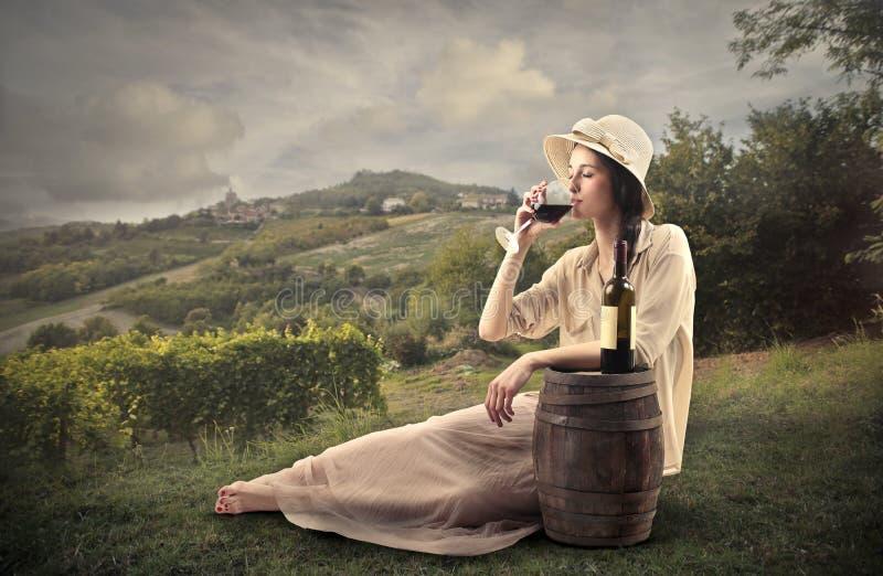 Giovane bella donna che beve un bicchiere di vino immagini stock libere da diritti