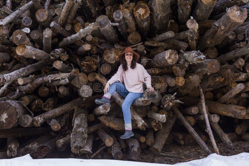 Giovane bella donna che si siede sui tronchi di legno e sul sorridere Aria aperta e stile di vita di stagione invernale immagini stock