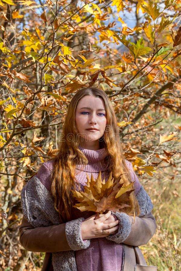 Giovane bella donna con le foglie in mani contro lo sfondo della foresta di autunno su un primo piano di giorno soleggiato fotografia stock