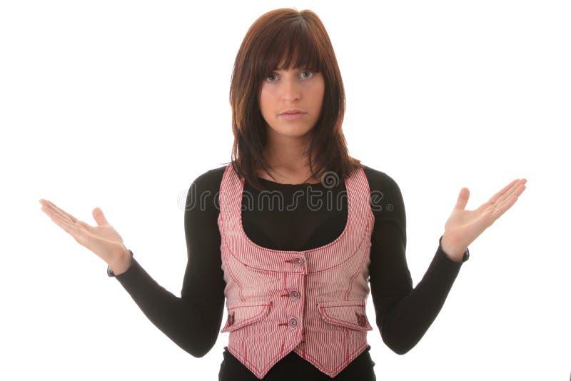 Giovane bella donna del brunet con l'espressione del fronte. fotografia stock libera da diritti