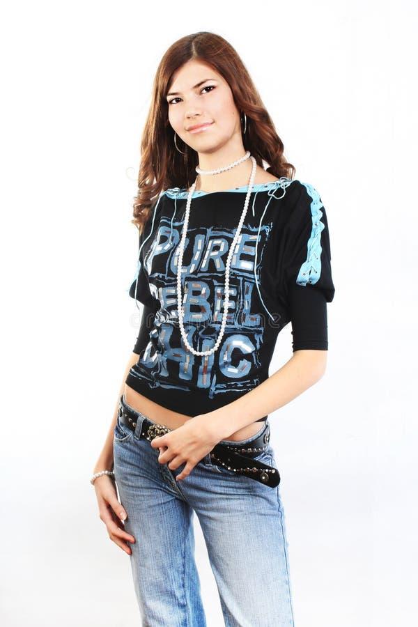 Giovane bella donna sexy del brunette fotografia stock libera da diritti