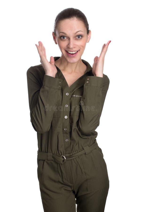 Giovane bella donna sorpresa, isolata fotografia stock libera da diritti