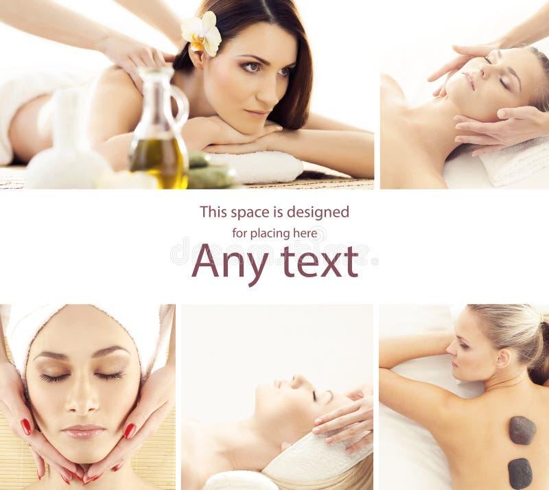Giovane, bella e donna in buona salute che ottiene terapia orientale tradizionale dell'aroma e che massaggia i trattamenti Ragazz fotografia stock