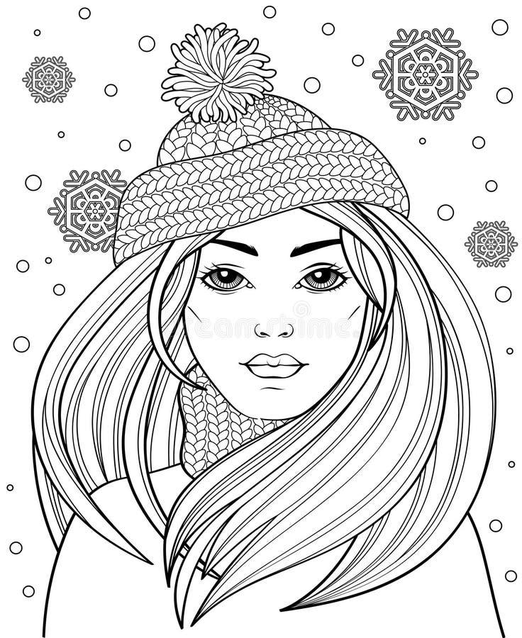Giovane bella ragazza con capelli lunghi in cappello tricottato Tatuaggio o adulto antistress illustrazione vettoriale