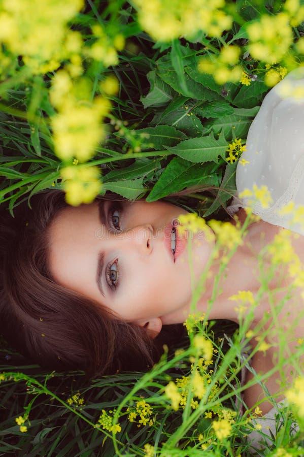 Giovane bella ragazza nel campo con i fiori gialli fotografia stock
