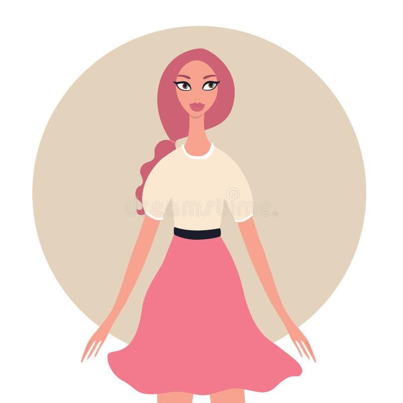 Giovane bella ragazza sveglia dell'adolescente con i capelli alla moda della treccia di rosa dell'acconciatura illustrazione di stock