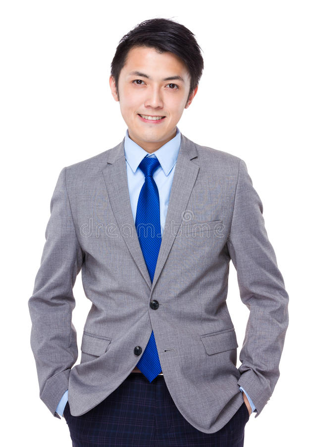 Giovane bello uomo asiatico di affari fotografie stock libere da diritti