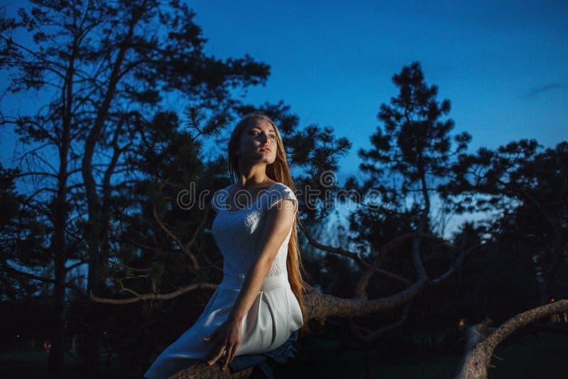 Giovane bionda nella foresta di notte che guarda ansiosamente intorno immagini stock