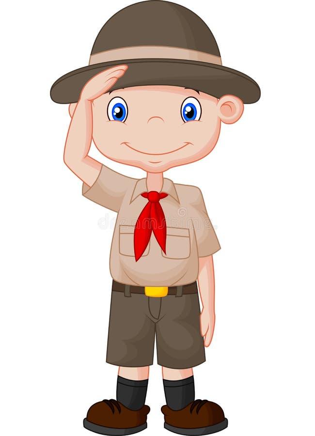Giovane boy-scout che fa un segno della mano illustrazione vettoriale