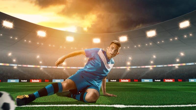 Giovane calciatore che dà dei calci alla palla su stadio di calcio 3D immagine stock libera da diritti