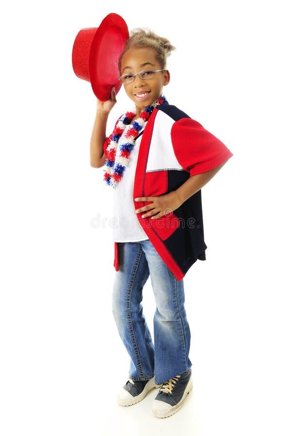 Giovane Cappello-ribaltatore patriottico immagine stock