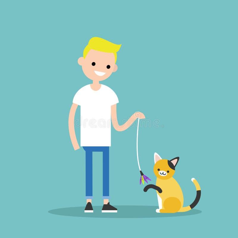 Giovane carattere che gioca con un gatto/un illust pianamente editabile di vettore illustrazione di stock