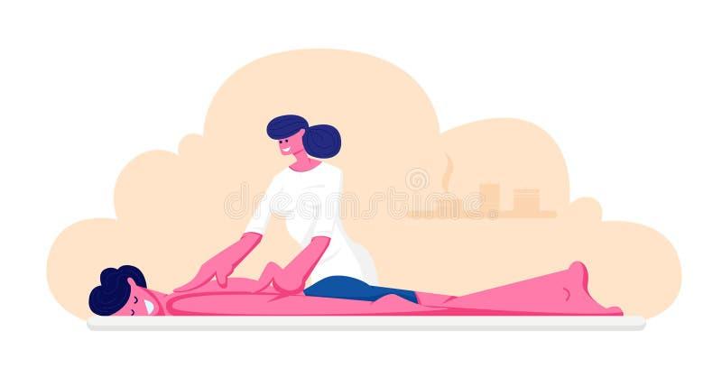 Giovane carattere maschio che si trova sulla Tabella che riceve massaggio della parte posteriore di rilassamento nel centro della royalty illustrazione gratis