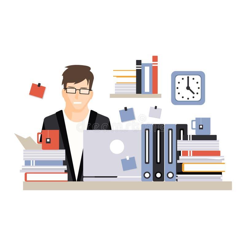 Giovane carattere occupato dell'uomo d'affari che si siede allo scrittorio del computer con il computer portatile e che lavora vi illustrazione vettoriale