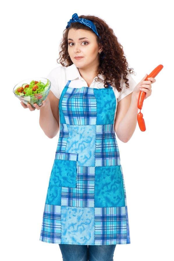 Giovane casalinga su bianco fotografia stock