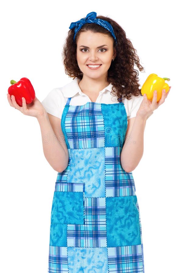 Giovane casalinga su bianco immagine stock libera da diritti