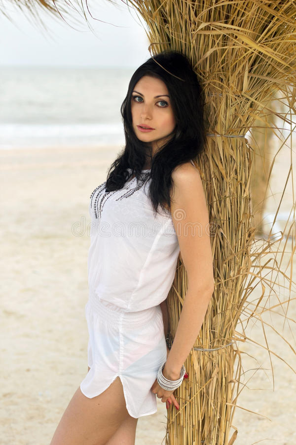 Giovane castana attraente su una spiaggia fotografia stock