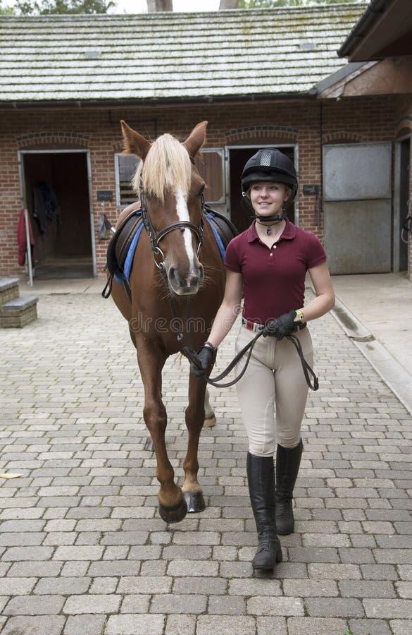 Giovane cavaliere con un cavallino nell'iarda stabile immagine stock