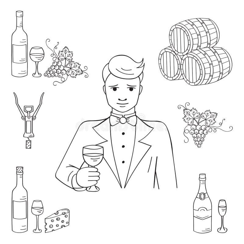 Giovane che assaggia un vettore del bicchiere di vino royalty illustrazione gratis