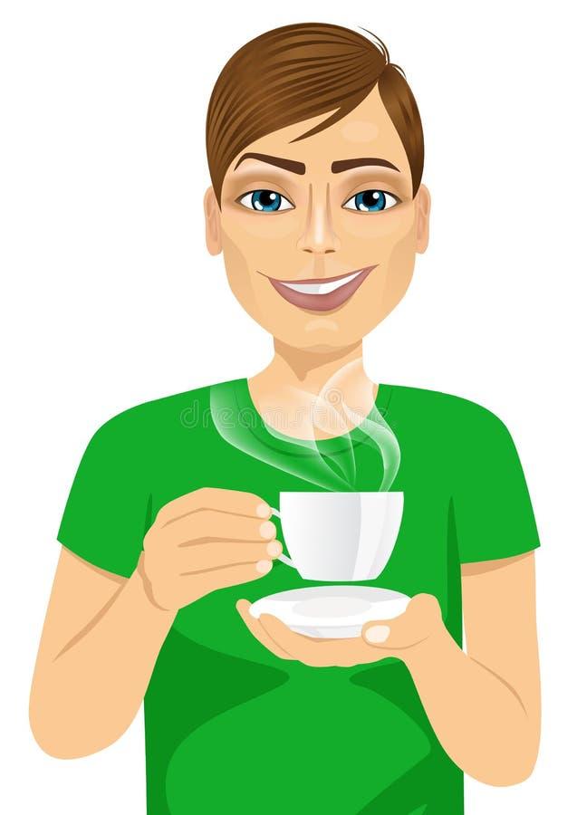 Giovane che beve caffè o tè caldo royalty illustrazione gratis