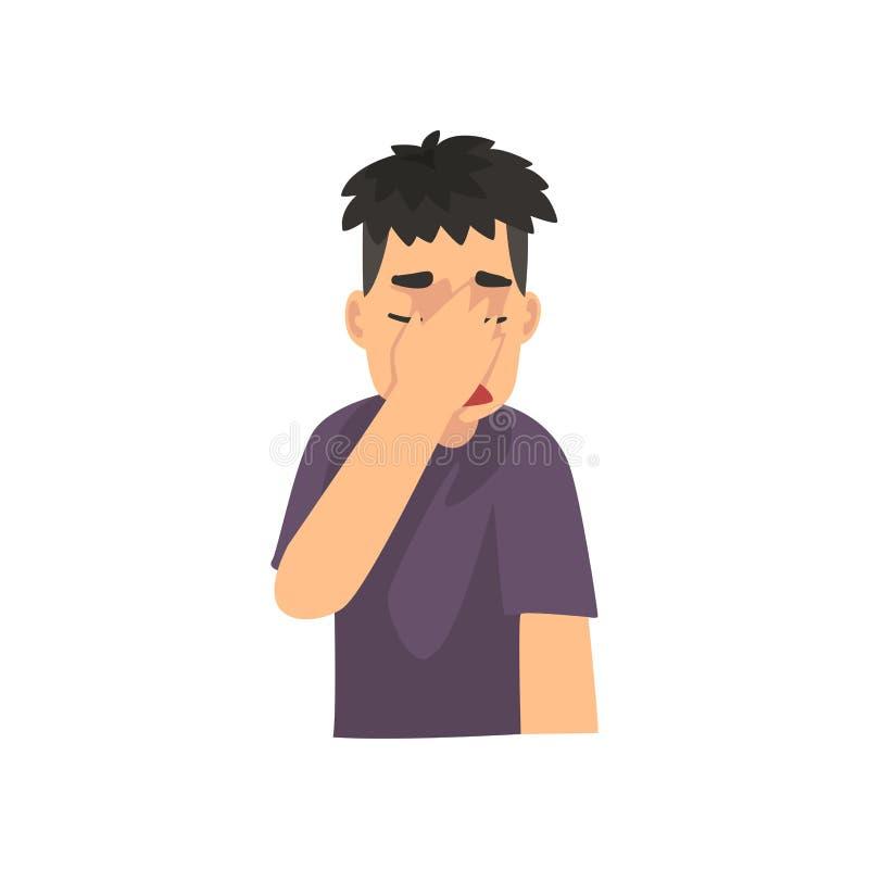 Giovane che copre il suo fronte di mano, Guy Making Facepalm Gesture, vergogna, emicrania, delusione, emozione negativa illustrazione vettoriale