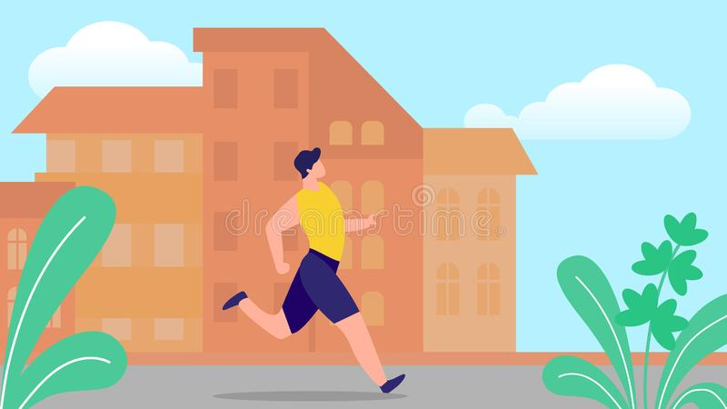 Giovane che corre sul fondo di paesaggio urbano di estate illustrazione vettoriale