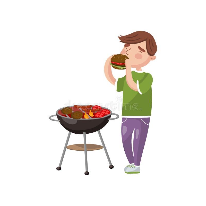 Giovane che cucina e che mangia l'illustrazione di vettore del fumetto del barbecue illustrazione vettoriale