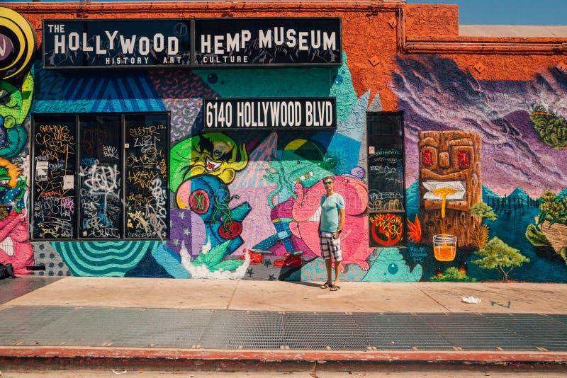 Giovane che fa una pausa la parete variopinta dei graffiti a Los Angeles fotografia stock