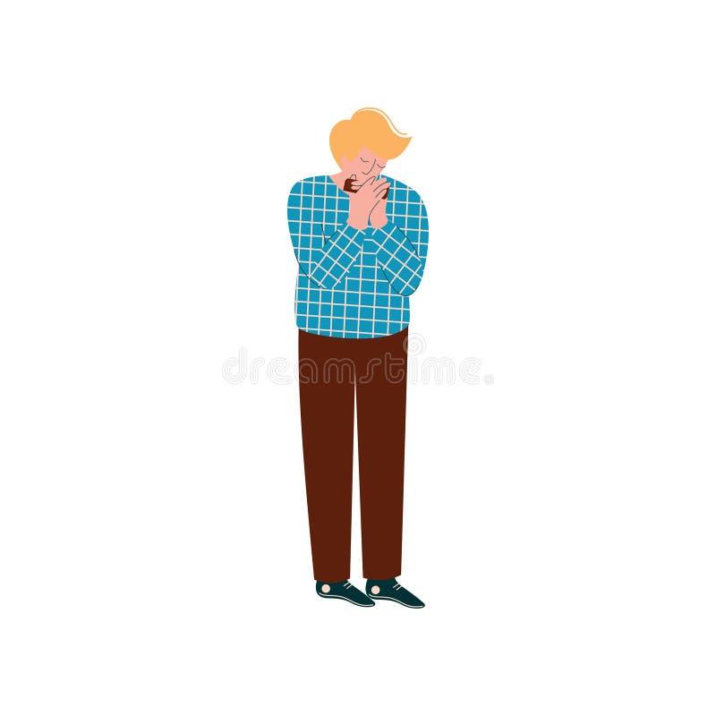 Giovane che gioca armonica, musicista maschio con l'arpa francese o l'illustrazione di vettore dell'armonica a bocca royalty illustrazione gratis