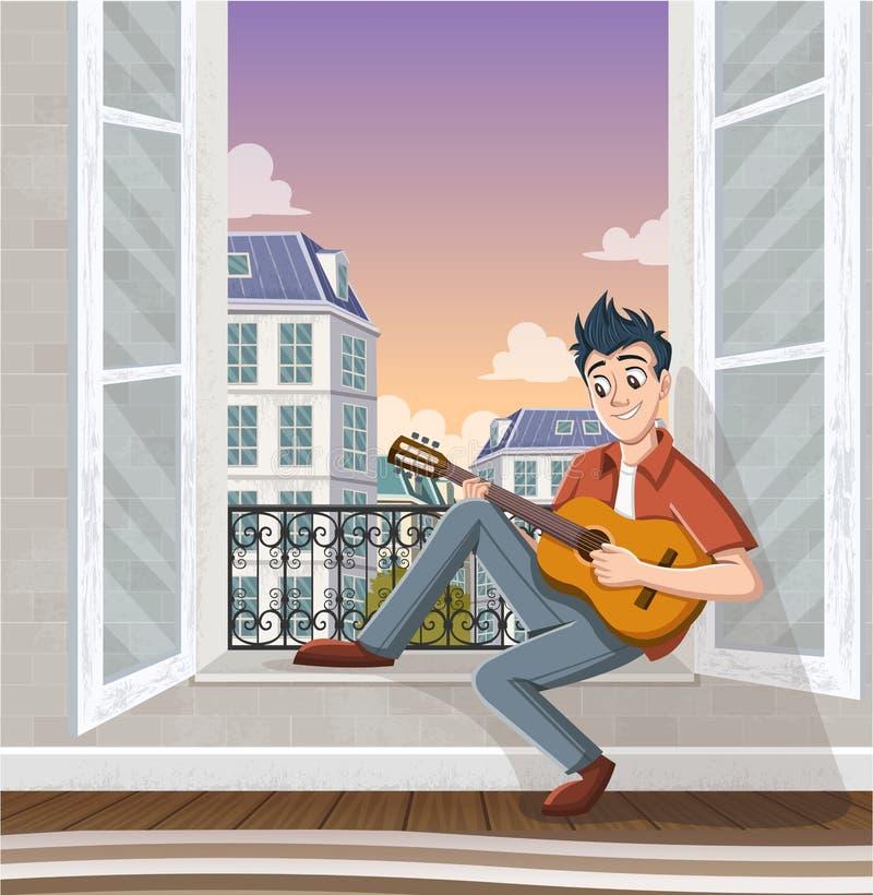 Giovane che gioca chitarra nella finestra Musica nella città immagini stock libere da diritti