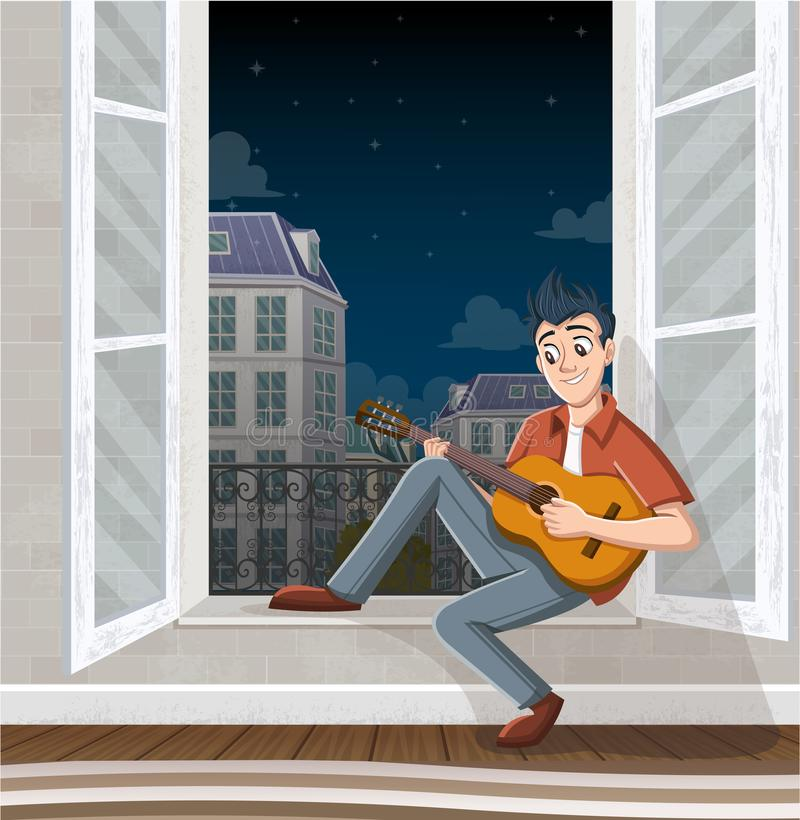 Giovane che gioca chitarra nella finestra Musica nella città immagine stock