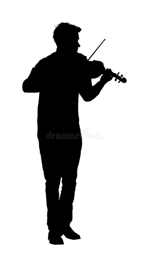 Giovane che gioca la siluetta del violino Pubblico di divertimento dell'artista del musicista royalty illustrazione gratis
