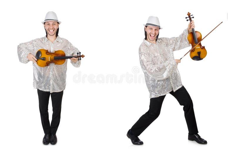 Giovane che gioca violino isolato su bianco fotografia stock