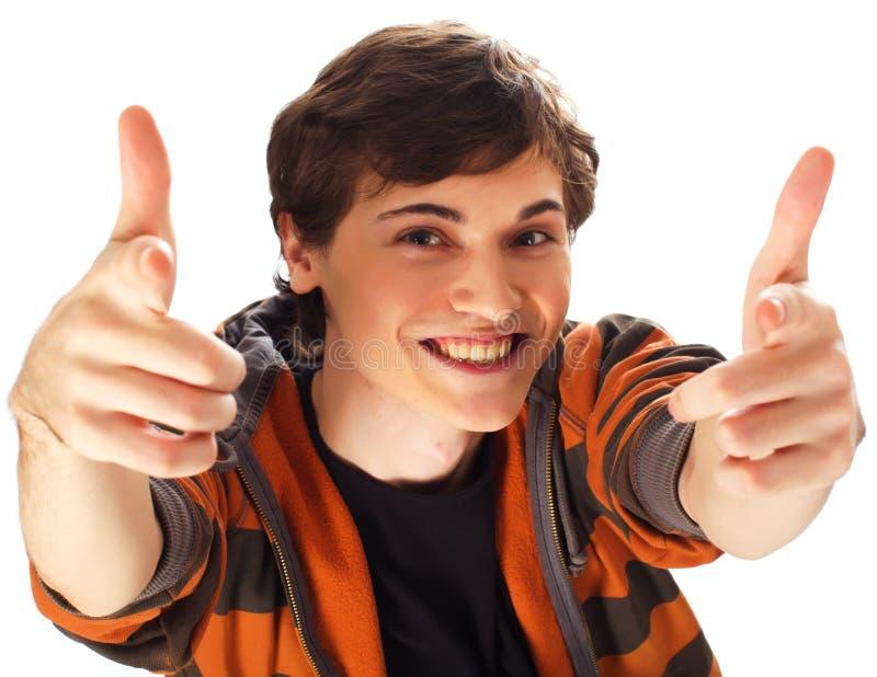 Giovane che indica voi con entrambe sue mani immagini stock libere da diritti