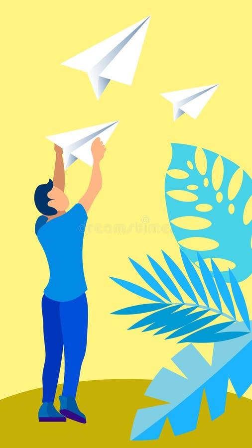 Giovane che invia a messaggio l'illustrazione piana di vettore royalty illustrazione gratis