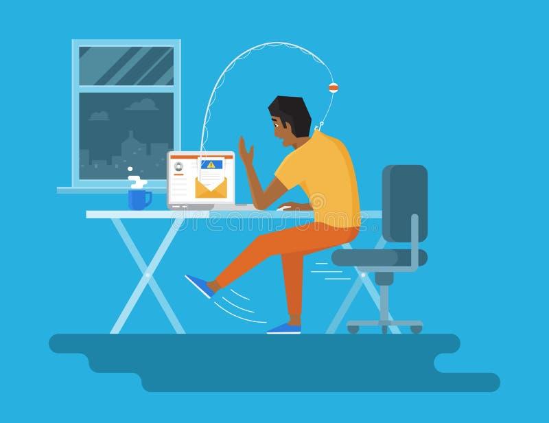 Giovane che legge un nuovo email sulla mezzanotte del computer portatile Illustrazione piana di concetto dell'attacco di pesca vi illustrazione vettoriale