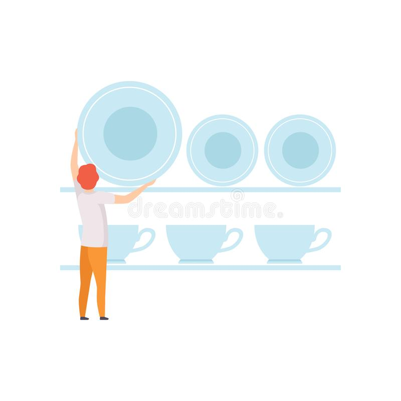 Giovane che mette i piatti sullo scaffale, uomo anonimo in abbigliamento casual con l'illustrazione di vettore dell'articolo da c illustrazione vettoriale
