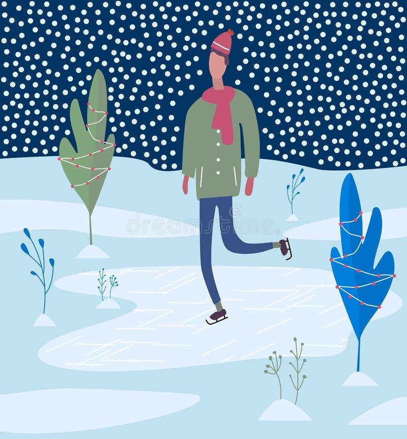 Giovane che pattina sulla pista di pattinaggio sul ghiaccio Attività di inverno illustrazione vettoriale