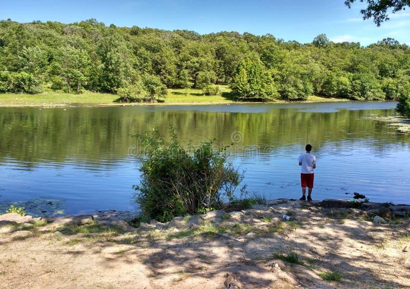Giovane che pesca lo stagno di Barbours, Garret Mountain Reservation, U.S.A. immagini stock