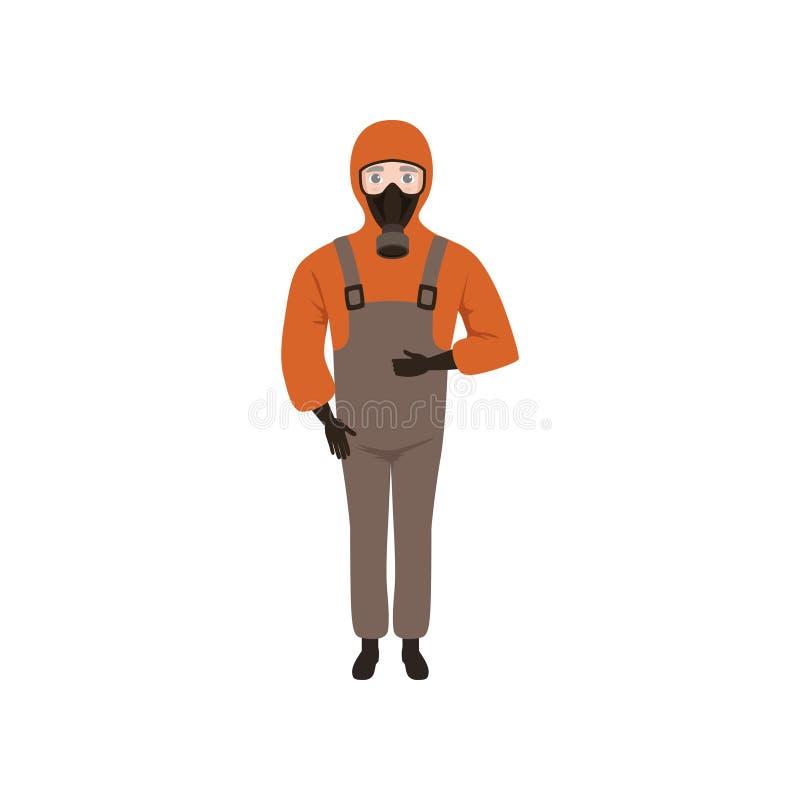 Giovane che porta rivestimento rosso con il cappuccio, il camice marrone, i guanti e la maschera antigas Tipo in vestiti protetti illustrazione di stock