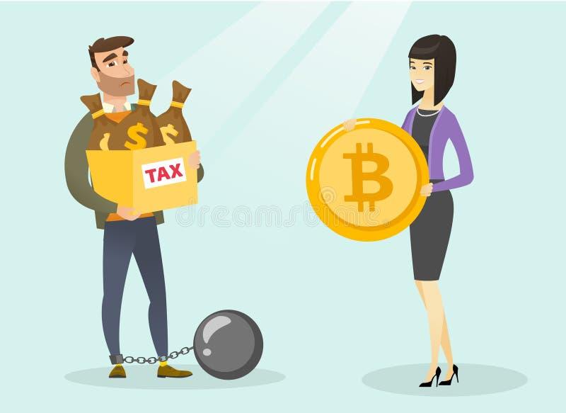 Giovane che sceglie pagamento esente da imposte dai bitcoins illustrazione di stock