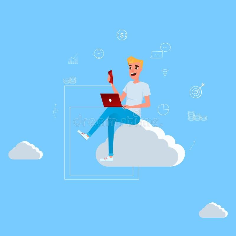 Giovane che si siede sulla nuvola che lavora con il computer portatile e lo smartphone Concetto di tecnologia e della rete social illustrazione di stock